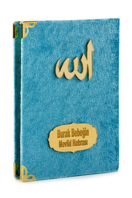 Canım Anneme Kadife Kaplı Yasin Kitabı - Çanta Boy - İsme Özel Plakalı - Seccadeli - Tesbihli - Kutulu - Mavi