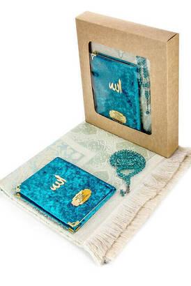 İhvan - Kadife Kaplı Yasin Kitabı - Çanta Boy - İsme Özel Plakalı - Seccadeli - Tesbihli - Kutulu - Petrol Renk - Mevlüt Hediyeliği