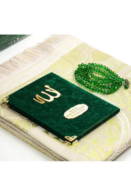 Anneler Gününe Özel Kadife Kaplı Yasin Kitabı - Çanta Boy - İsme Özel Plakalı - Seccadeli - Tesbihli - Kutulu - Yeşil Renk