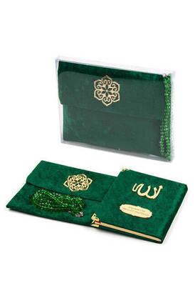 İhvan - Kadife Kaplı Yasin Kitabı - Çanta Boy - İsme Özel Plakalı - Tesbihli - Keseli - Kutulu - Yeşil Renk - Mevlit Hediyeliği