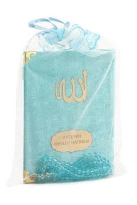 İhvan - Kadife Kaplı Yasin Kitabı - Çanta Boy - İsme Özel Plakalı - Tesbihli - Keseli - Mavi Renk - Mevlüt Hediyeliği