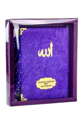 İhvan - Kadife Kaplı Yasin Kitabı - Çanta Boy - İsme Özel Plakalı - Tesbihli - Kutulu - Mor Renk - Mevlid Hediyeliği