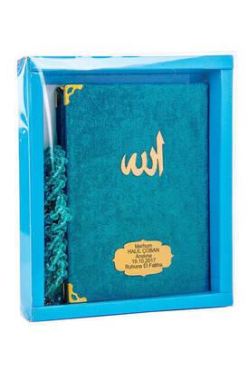 Kadife Kaplı Yasin Kitabı - Çanta Boy - İsme Özel Plakalı - Tesbihli - Kutulu - Petrol Renk - Mevlid Hediyeliği