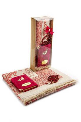İhvan - Kadife Kaplı Yasin Kitabı - Cep Boy - İsme Özel Plakalı - Seccadeli - Tesbihli - Kutulu - Kırmızı Renk - Mevlid Hediyelik Set