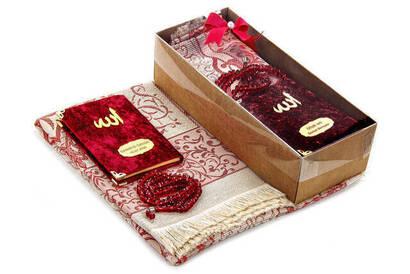 Kadife Kaplı Yasin Kitabı - Cep Boy - İsme Özel Plakalı - Seccadeli - Tesbihli - Kutulu - Kırmızı Renk - Mevlid Hediyelik Set