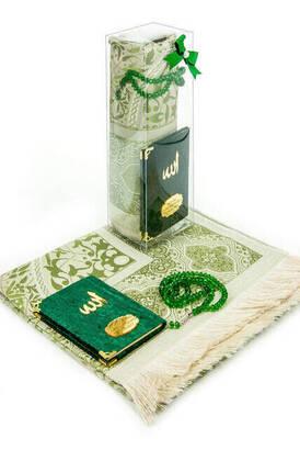 İhvan - Biricik Anneme Özel Set - Kadife Kaplı Yasin Kitabı - Cep Boy - İsme Özel Plakalı - Seccadeli - Tesbihli - Kutulu - Yeşil