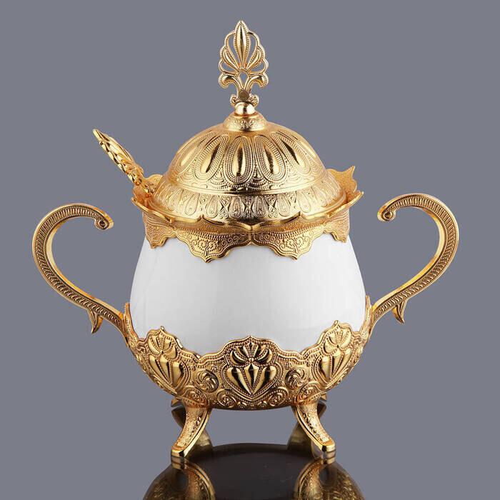 Kapaklı ve Kaşıklı Lüks Porselen Şekerlik Lokumluk Gümüş Gold