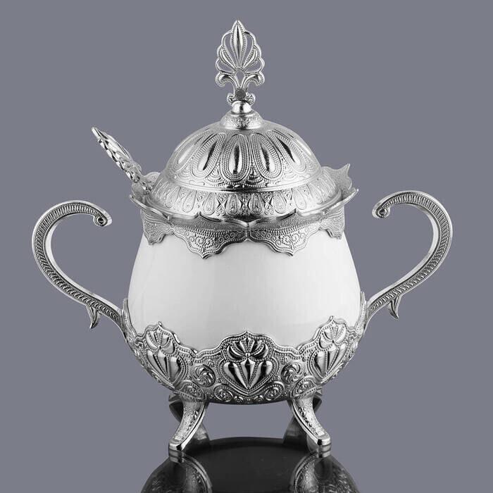 Kapaklı ve Kaşıklı Lüks Porselen Şekerlik Lokumluk Gümüş