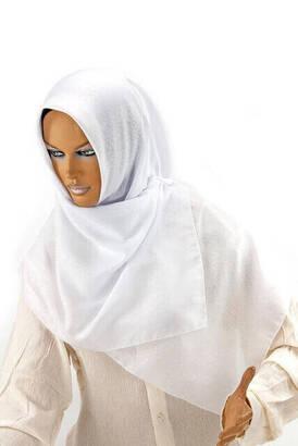 İhvan - Kofra Desenli - Beyaz - Baş Örtüsü