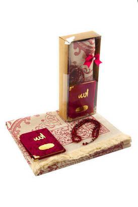 İhvan - Kraft Boxed for Mother's Day - Prayer Rug - Velvet Yasin - Rosary Set