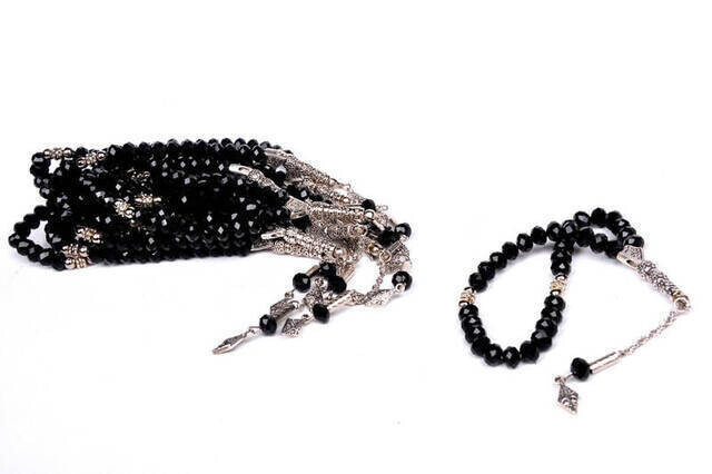 Kristal Tesbih 33'lü 10 Adet (Destesi) Siyah