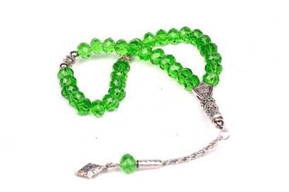 Kristal Tesbih 33'lü 10 Adet (Destesi) Yeşil-2123