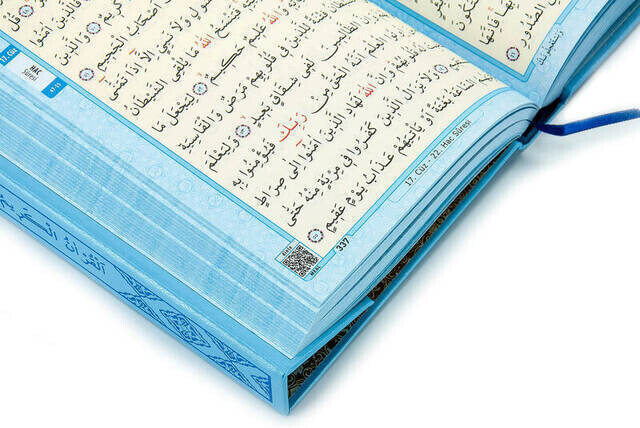 Kuran Karim - Plain Arabic - Medium Size - Blue - Merve Publishing House - Computer-Lined