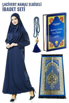 İhvan - Lacivert Namaz Elbiseli İbadet Seti