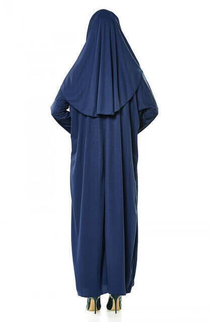 Lacivert Namaz Elbiseli İbadet Seti