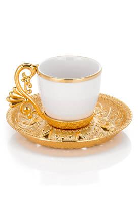 Busem Hediyelik - Lal 6 lı Fincan Kahve Seti - Gold