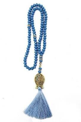 İhvan - Lale Desenli Püsküllü 99 'lu Kristal Hac Umre Hediyelik Tesbih - 6mm Mavi