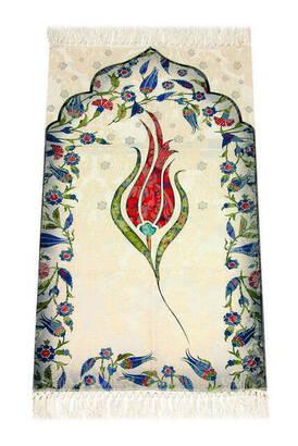 İhvan - Laleli Ebruli Seccade - Kırmızı Renk