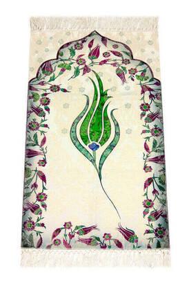 İhvan - Laleli Ebruli Seccade - Yeşil Renk