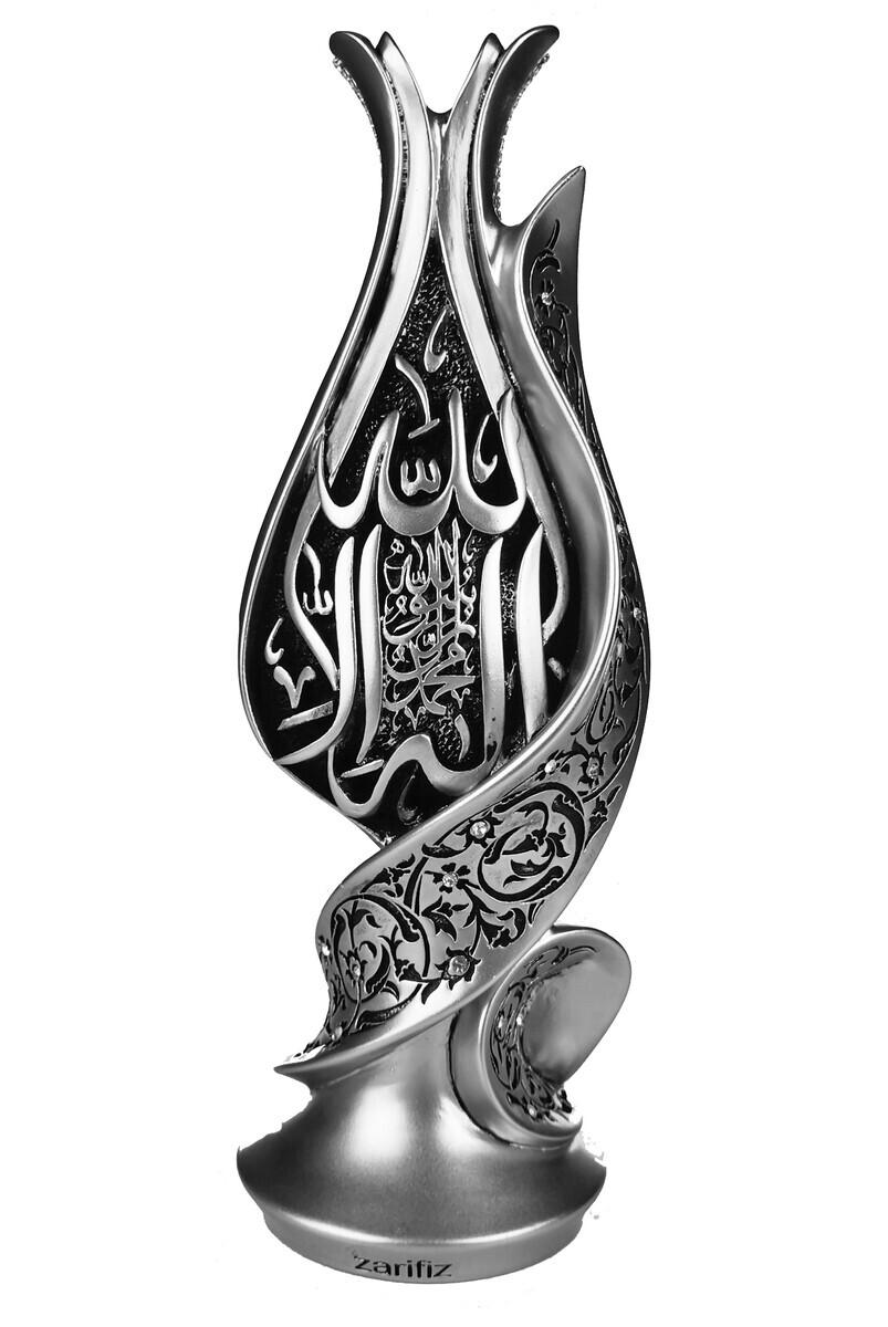Zarif Laleli Kelime-i Tevhid Dini Hediyelik Biblo Gümüş