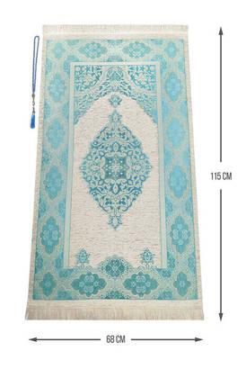 İhvan - Lüks Açık Renk Osmanlı Şönil Seccade Tesbih Hediyeli Mavi