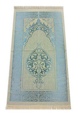 İhvan - Lüks Açık Renk Osmanlı Tafta Seccade - 0210 - Mavi Renk