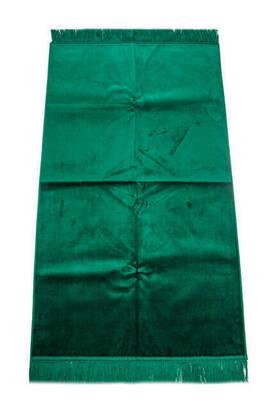 İhvan - Lüks Düz Desensiz Kadife Velür Seccade Koyu Yeşil