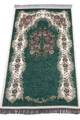 İhvan - Lüks Gülce Şönil Seccade - 0260 - Koyu Yeşil Renk