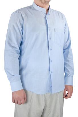 İhvan - Lüks Hakim Yaka Yazlık Keten Gömlek A.Mavi