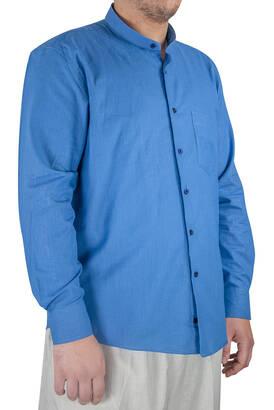 İhvan - Lüks Hakim Yaka Yazlık Keten Gömlek Mavi