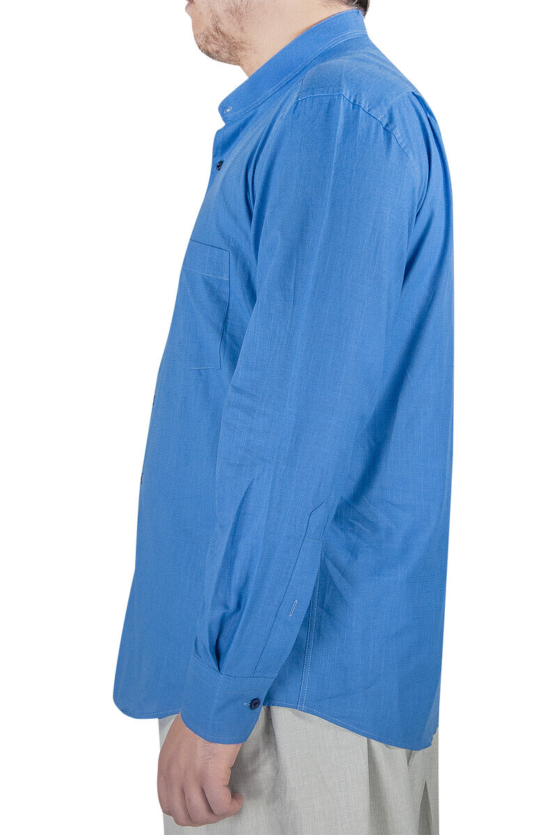Lüks Hakim Yaka Yazlık Keten Gömlek Mavi