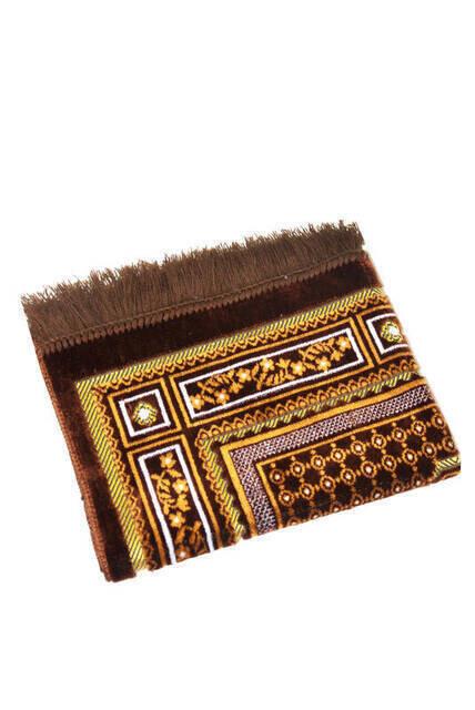 Lüks Kadife Şipinger Seccade - Kahverengi Renk