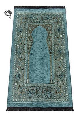 İhvan - Lüks Mihraplı Kalın Şönil Seccade Mavi