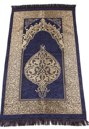 İhvan - Lüks Osmanlı Şönil Seccade - 0170 - Lacivert Renk