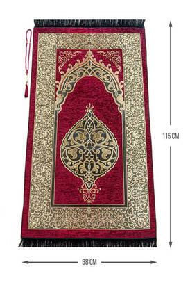 İhvan - Lüks Osmanlı Şönil Seccade Tesbih Hediyeli Kırmızı