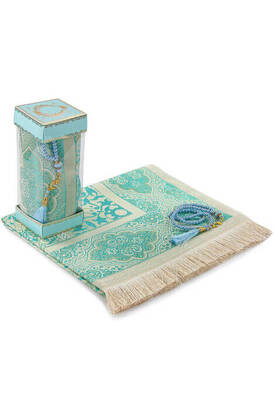 İhvan - Lüks Tafta Seccadeli - İnci Tesbihli - Pencereli Kutulu Mevlid Hediyelik Seti Mavi Renk