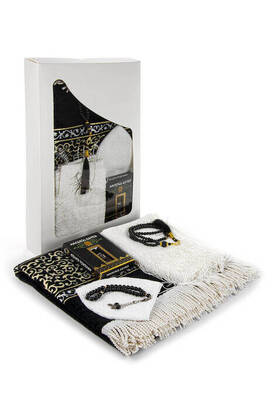İhvan - Luxury Prayer Mat Set Religious Gift Set Window BoxEd Gift Set Kaaba Prayer Mat Set