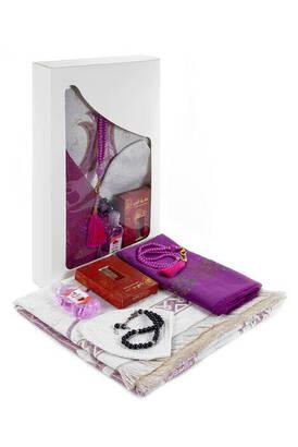 İhvan - Luxury Prayer Mat Set Religious Gift Set Window BoxEd Gift Set Red Tulip Prayer Mat Set