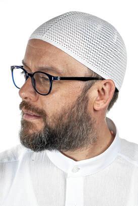 İhvan - Luxury Steel Knitted Prayer Cap White 1 Piece