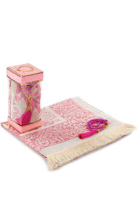 İhvan - Luxury Taffeta Prayer Rug - Pearl Rosary - Windowed Boxed Mevlid Gift Set Pink Color