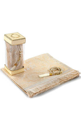 İhvan - Luxury Tafta Prayer Mat - Pearl Rosary - Glass Boxed Mevlid Gift Set Cream Color