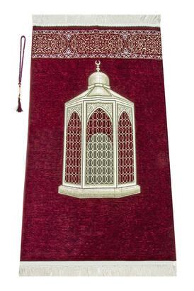 İhvan - Makamı İbrahim Patterned Luxurious Chenille Prayer Rug - Claret Red