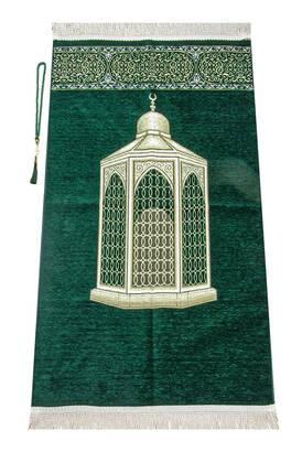 İhvan - Makamı İbrahim Patterned Luxurious Chenille Prayer Rug - Green