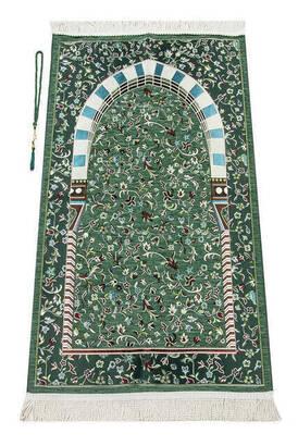 İhvan - Masjid Prophetic Ravza Patterned Chenille Prayer Rug Green
