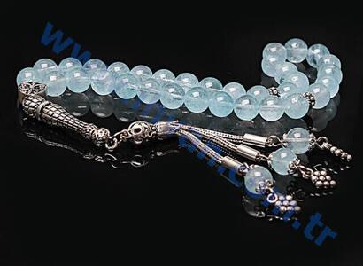 Mavi Topaz Taşı Tesbih (925 Ayar Gümüşlü 8mm)