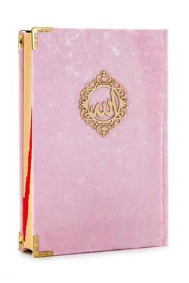 İhvan - Mealli Koran - Velvet Coated - Allah Word - Medium Size - Pink Color
