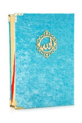 İhvan - Mealli Koran Karim - Velvet Coated - Allah Word - Medium Size - Blue Color