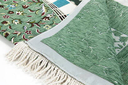 Mescidi Nebevi Ravza Motifli Şönil Seccade Yeşil