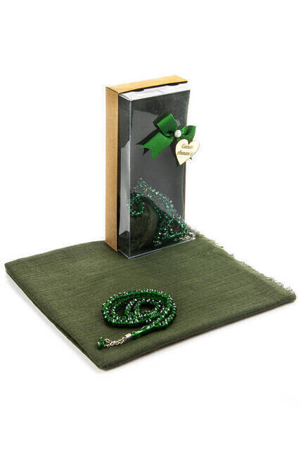 Mevlid Gift Set - Rosary - Covered - Green Color