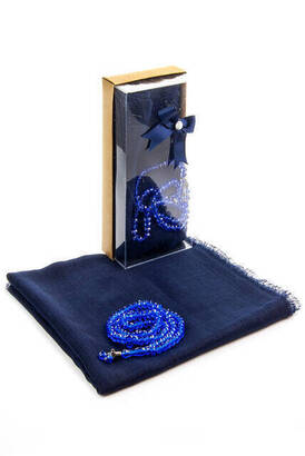 İhvan - Mevlid Gift Set - Rosary - Covered - Navy Color